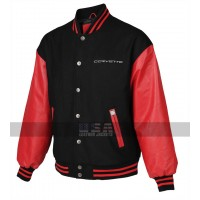 Mens Varsity Corvette Bomber Black and Red Letterman Jacket