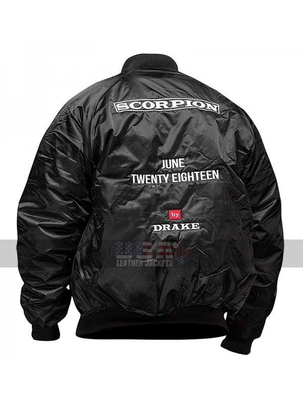 3376ca40e04 Drake Scorpion June Twenty Eighteen Black Bomber Satin Jacket