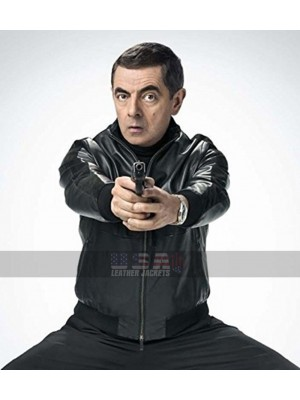 Johnny English Strikes Again Rowan Atkinson Bomber Leather Jacket