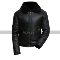 Men's Sheepskin Shearling Fur Bomber B3 Aviator Black Leather Jacket
