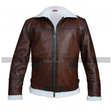 Men's Aviator RAF B3 Fur Shearling Brown Leather Jacket