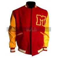 Michael Jackson M logo Varsity Red & Yellow Letterman Bomber Jacket