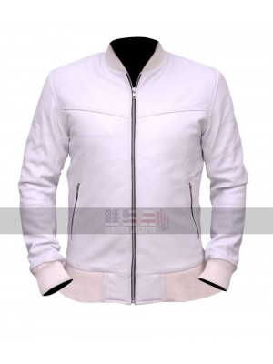 Crazy Stupid Love Ryan Gosling (Jacob Palmer) White Bomber Leather Jacket