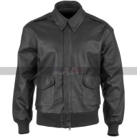 Mens A2 USAAF Air Force Aviator Cockpit Bomber Distressed Black Leather Jacket