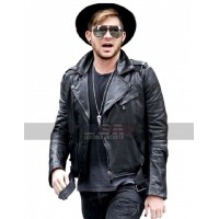 Singer Adam Lambert Asymmetrical Belted Motorcycle Leather Jacket