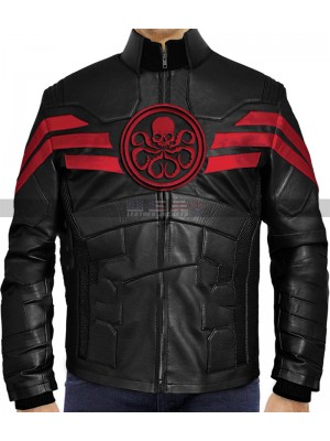 captain hydra Black Leather Jacket