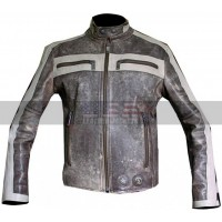 Mens DIESEL Comfortable Luxury Grey Motorcycle Leather Jacket