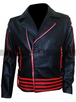 Freddie Mercury Black And  Red Leather Jacket