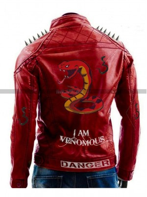 I Am Venomous Spikes Mens Studded Danger Last Red Jacket