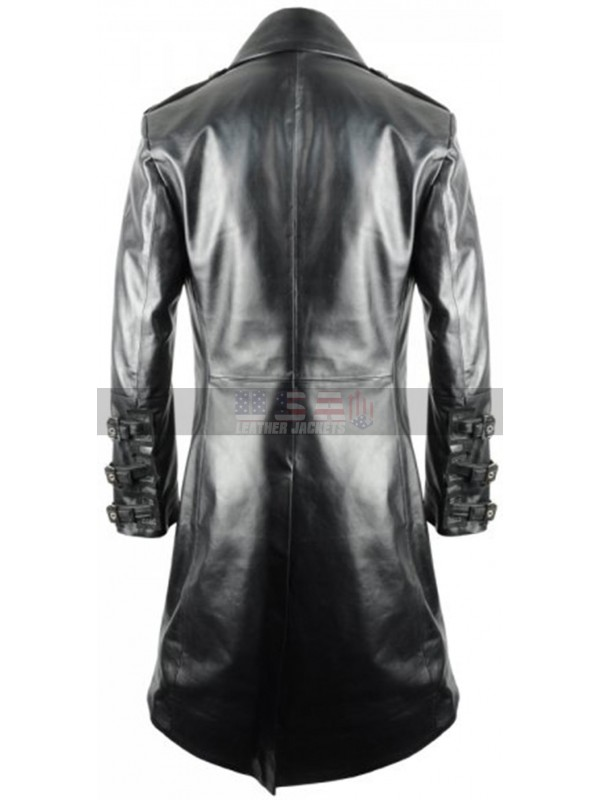 Mens London Military Imperial Leather Gothic Costume Leather Coat