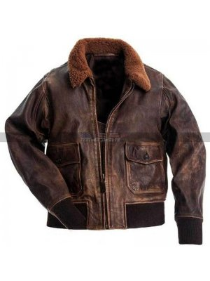 Men Usn Us Navy Aviator Air Forces G-1 Military Flight Bomber Distressed Brown Jacket