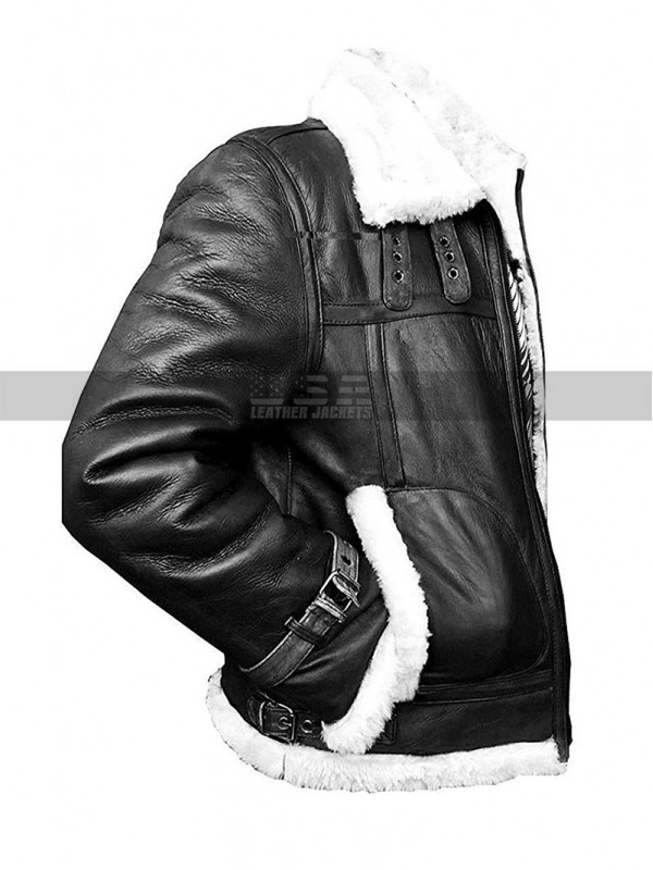 Mens Sheepskin Raf Aviator Pilot Fur Shearling Flying B3 Black Bomber Leather Jacket