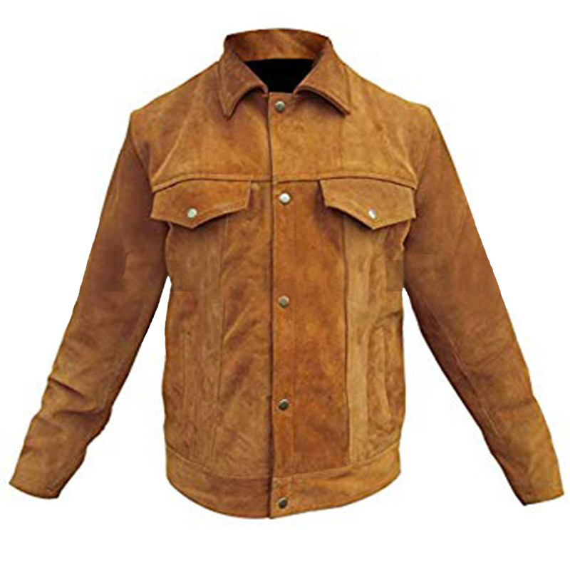 Men Trucker Style Western Cowboy Brown Suede Leather Jacket