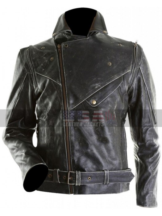 Mens Belted Rider Brando Distressed Black Motorcycle Leather Jacket