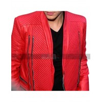 Quilted Style Justin Bieber Red Leather Jacket