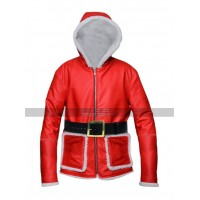 Christmas Santa Claus Costume Red Leather Jacket For Men's