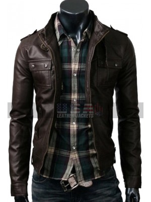 Mens Strap Pocket Slimfit Dark Brown Biker Leather Jacket