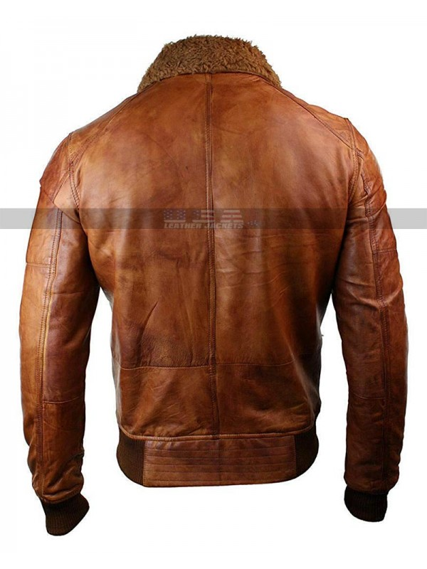 Vintage Mens B3 Washed Rust Removable Fur Collar Aviator Pilot Leather Jacket