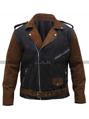 Men's Vintage Classic Brando Biker Brown Suede Leather Jacket