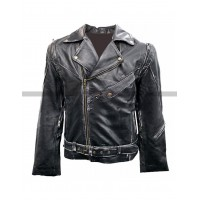 Terminator 2 Arnold Black Motorcycle Leather Jacket