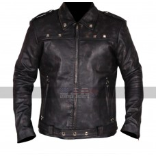 A Long Way Down Aaron Paul (JJ) Belted Biker Black Leather Jacket