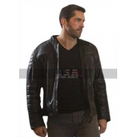 Accident Man Scott Adkins Motorcycle Quilted Black Leather Jacket