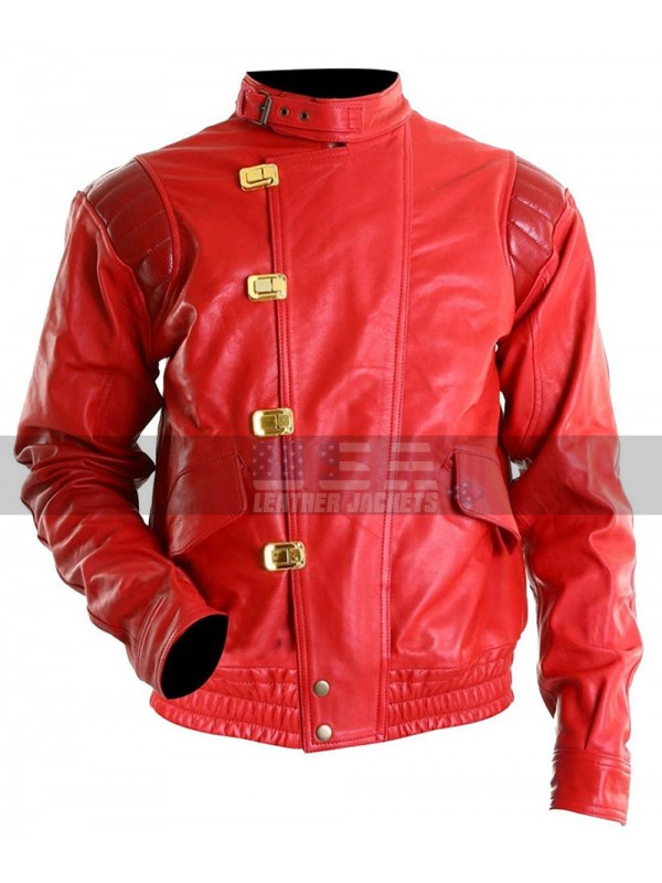 Akira Kaneda Capsule Logo Red Bomber Leather Jacket