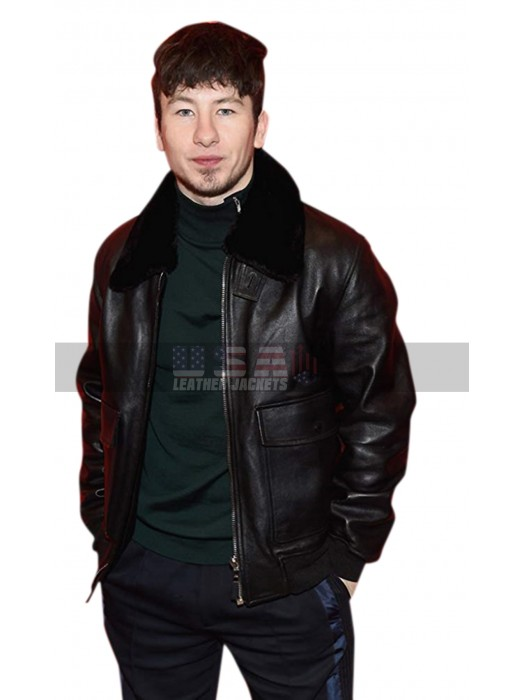 American Animals Barry Keoghan Fur Collar Brown Bomber Leather Jacket