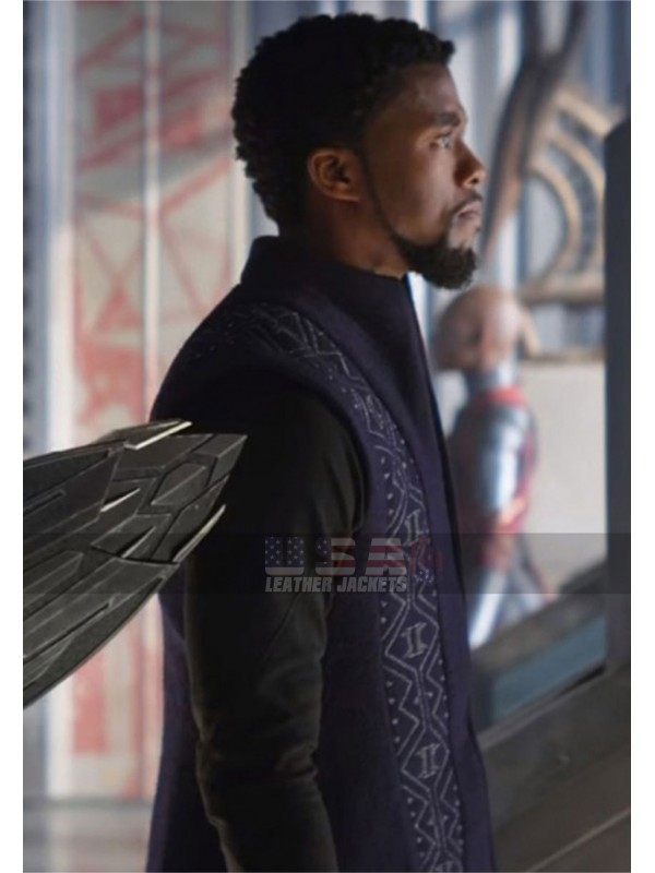 Black Panther Avengers Infinity War T'Challa Navy Blue Trench Coat