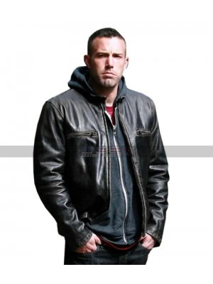 Men Ben Affleck The Town Movie Doug Macray Black Leather Jacket