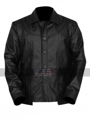 Killing Them Softly Brad Pitt (Jackie Cogan) Black Leather Jacket