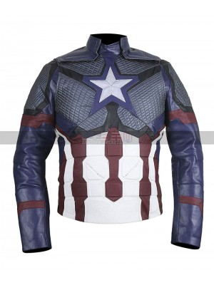 Avengers Endgame Cosplay Captain America uniform Leather Jacket