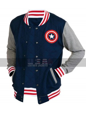 Mens Captain America Varsity Fleece Bomber Jacket