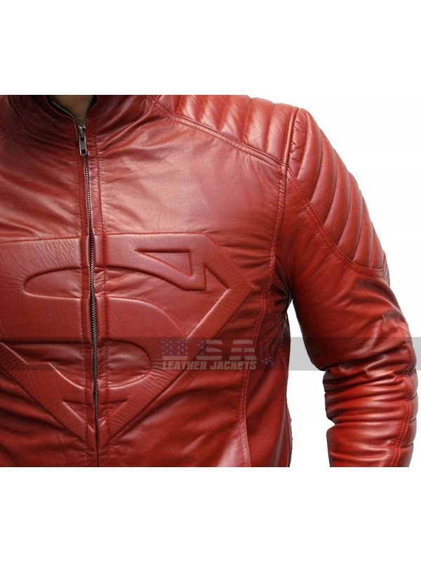 Tom Welling Superman Smallville Red Leather Jacket