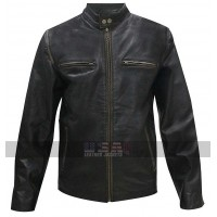 Daddys Home Mark Wahlberg Black Biker Leather Jacket