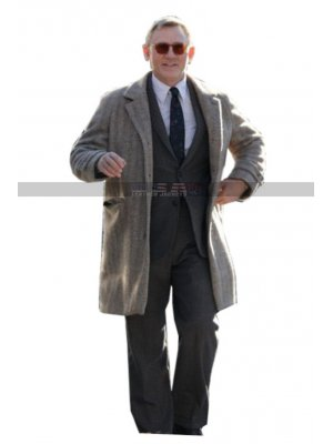 Daniel Craig Knives Out Benoit Blanc Grey Wool Coat