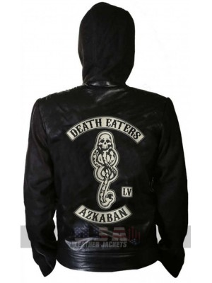 Harry Potter Death Eaters of Azkaban Hooded Biker Black Leather Jacket