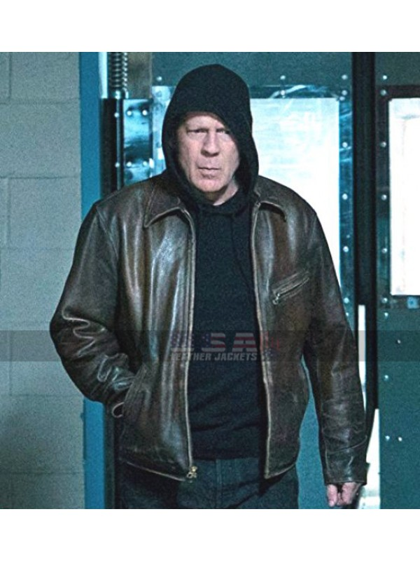 356fdbe06 Bruce Willis Death Wish Distressed Brown Leather Jacket