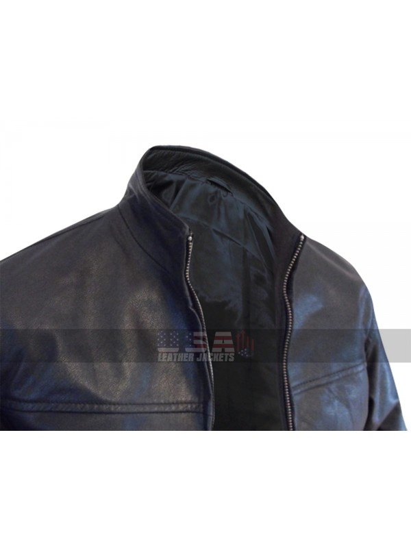 The Departed Leonardo DiCaprio Officer Billy Costigan Biker Black Leather Jacket