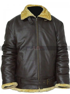 Tom Hardy Dunkirk Farrier Shearling Sheepskin Brown Bomber Leather Jacket