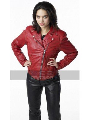 Ben 10 Alyssa Diaz Red Biker Leather Jacket