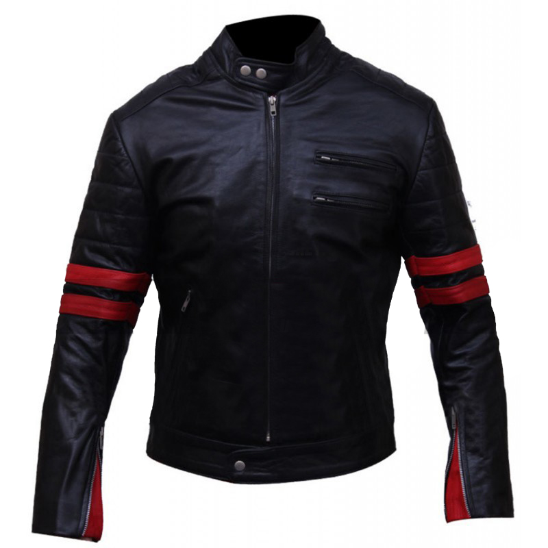 Red Stripes Fight Club Hybrid Mayhem Biker Leather Jacket