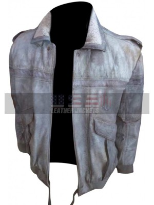 Ghost in the Shell Batou Fur Collar Shearling Bomber Leather Jacket