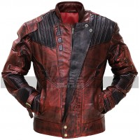 Guardians of Galaxy 2 Star Lord Distressed Maroon Costume Leather Jacket