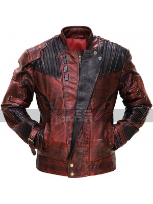 Guardians of the Galaxy 2 Star Lord Distressed Maroon Costume Leather Jacket