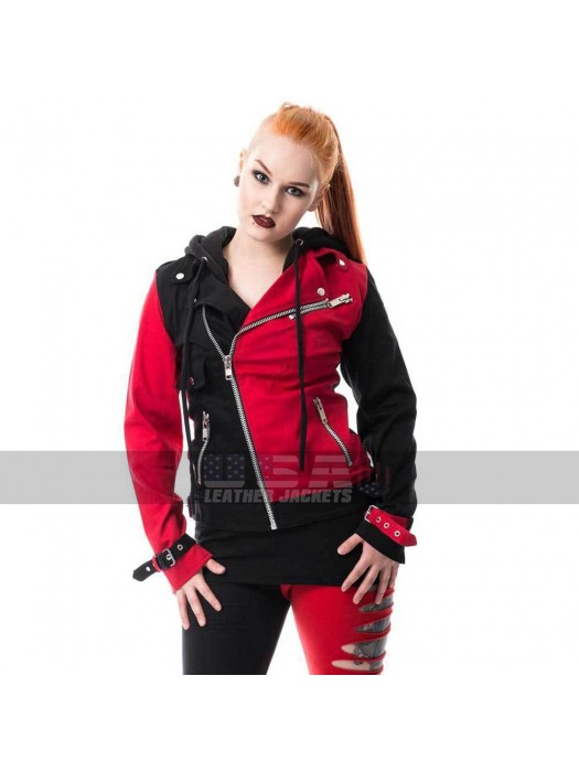 Harley Quinn Suicide Squad Red And Black Cotton Jacket