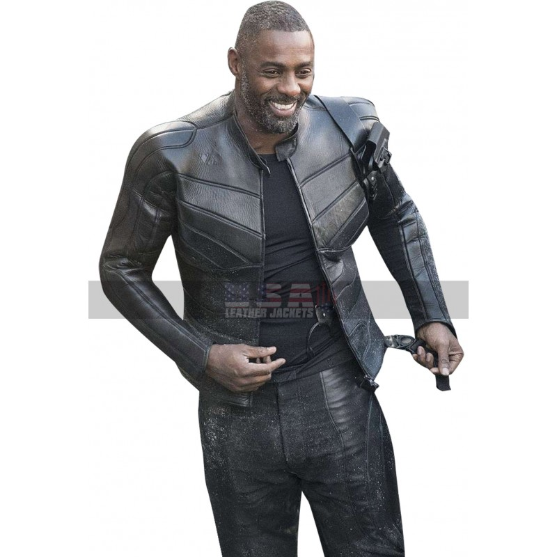 Hobbs and Shaw Idris Elba Brixton Costume Black Leather Jacket