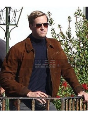 The Man from U.N.C.L.E Armie Hammer Brown Suede Leather Jacket
