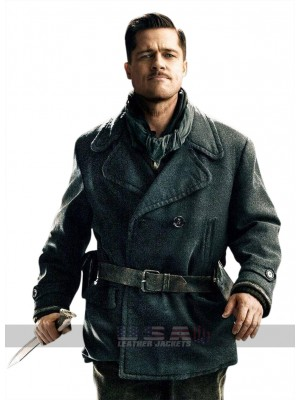 Brad Pitt Inglourious Basterds Pea Blue Wool Coat