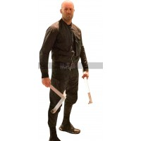 Jason Statham Hobbs and Shaw Deckard Shaw Black Leather Jacket
